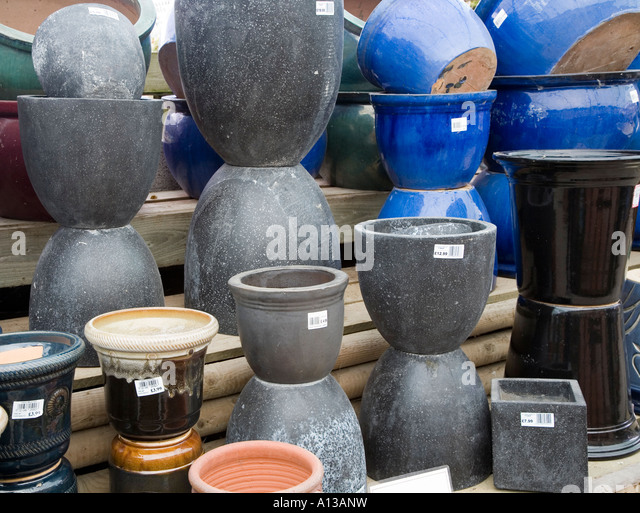 Ordinary Ceramic Pots For Sale Part - 7: Frost Resistant Ceramic Pots On Sale In Garden Centre Wales UK - Stock Image