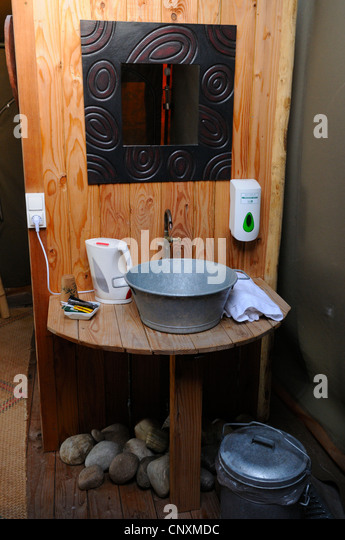 Bathroom in safari tent loge Rhodes animalu0027s park Moselle France Europe - & Mirror Tent Stock Photos u0026 Mirror Tent Stock Images - Alamy