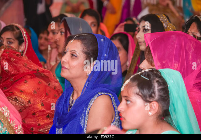 Wedding Guests At A Sikh Marriage In Brent Gurdwara London