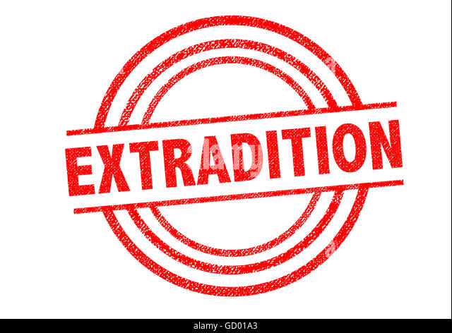 EXTRADITED Rubber Stamp Over A White Background.   Stock Image