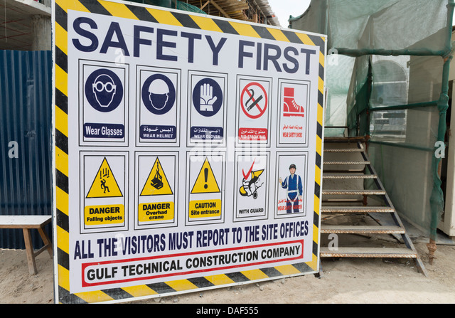Construction site sign dubai uae stock photos for Construction rules and regulations