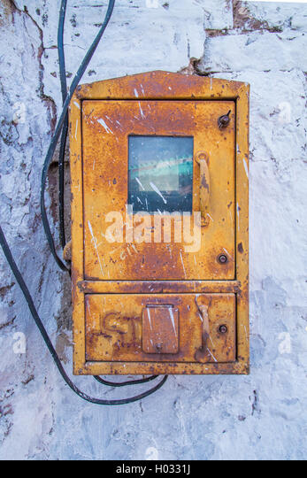 old electric plug connect small stock photos old electric plug jodhpur 09 2015 old fusebox on white stone wall