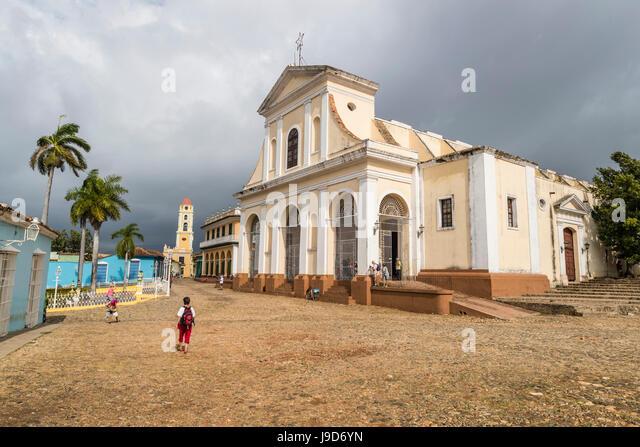 Exterior view of the Iglesia Parroquial de la Santisima, Trinidad, UNESCO World Heritage Site, Cuba, West Indies, - Stock Image