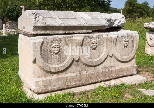 Stone sarcophagus stock photos