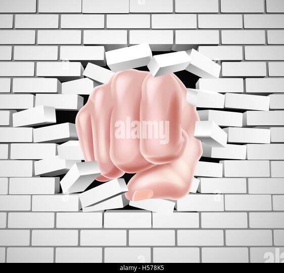 Human Hand Balled Into a Fist, Punching Through a Wall
