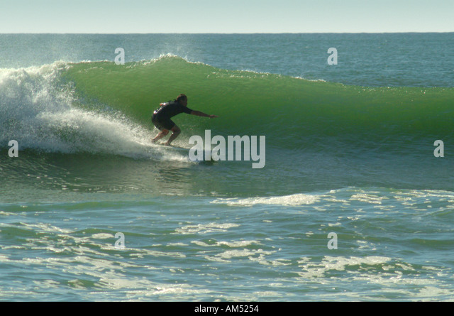 Surfer Rides A Wave At Fire Island Robert Moses State Park Long New York