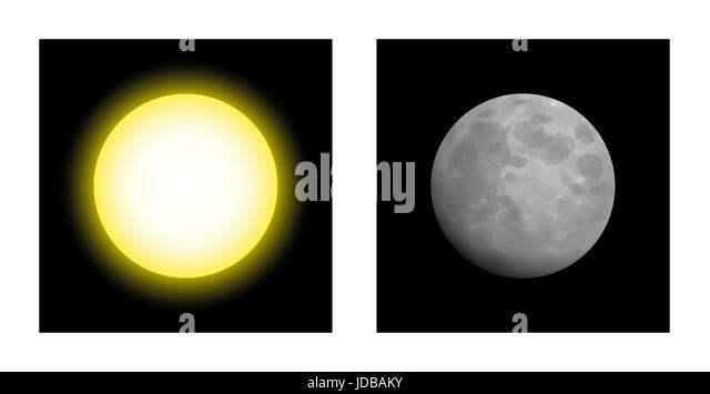Sun and moon - symbolic mythological comparison of masculine and feminine energy in astrology, like yin and yang, - Stock Image