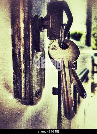 door lock and key black and white. Bunch Of Keys In The Lock A Front Door - Stock Image And Key Black White E