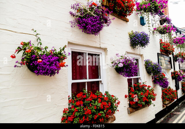 Hanging Flower Baskets Seattle : Flower basket wall hanging stock photos