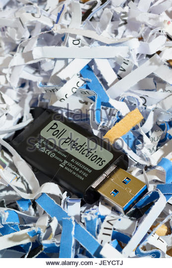 Poll Predictions Written On Discarded Usb Flash Drive England Uk Stock Image