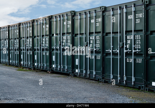 Line Of New Freight Containers Being Used A A Self Storage Solution   Stock  Image