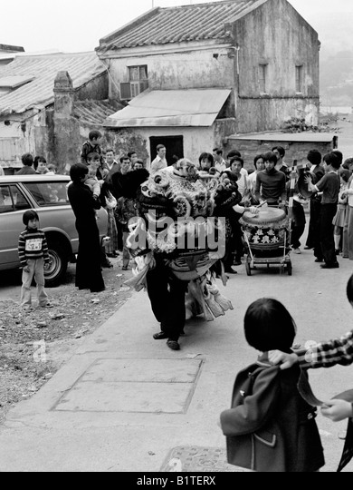 lion dance procession chinese new year stanley village hong kong 1978 stock image - Chinese New Year 1978