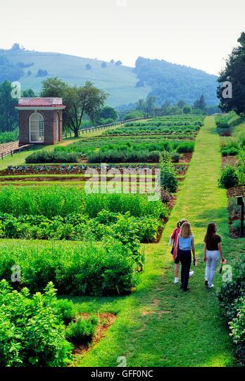 Monticello. Plantation House Home Of Thomas Jefferson, Near  Charlottesville, Virginia. Young Women