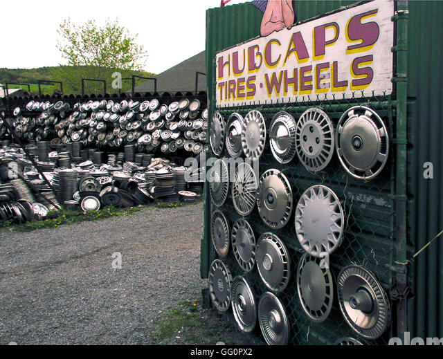 hubcaps for sale ny stock image