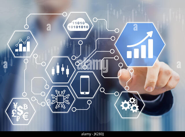 Fintech (financial technology) concept with businessman touching business intelligence (BI) analytics data icons - Stock Image