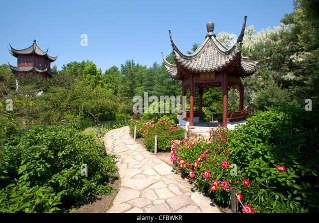 Pagoda In The Chinese Garden At The Montreal Botanic Gardens, Montreal,  Quebec, Canada