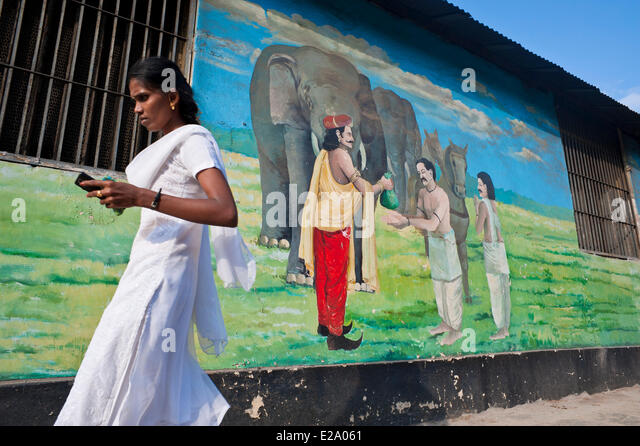 Chennai woman stock photos chennai woman stock images for Mural fish in tamil