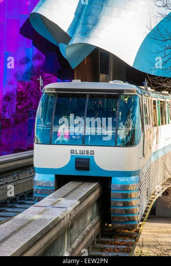 Seattle Center Monorail Passing Through The Experience Music Project And Science  Fiction Museum, Seattle,