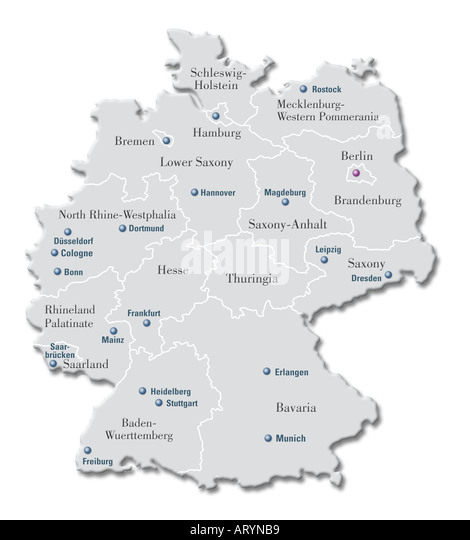 Map Of Germany Stock Photos Map Of Germany Stock Images Alamy - Germany map erlangen