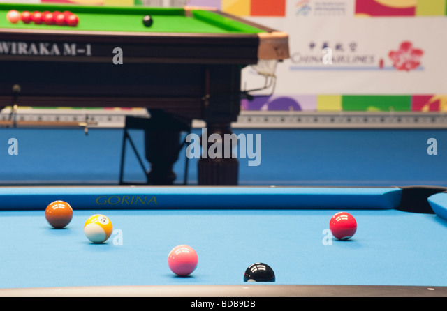 Pool Table Balls Scattered Billiards Balls...