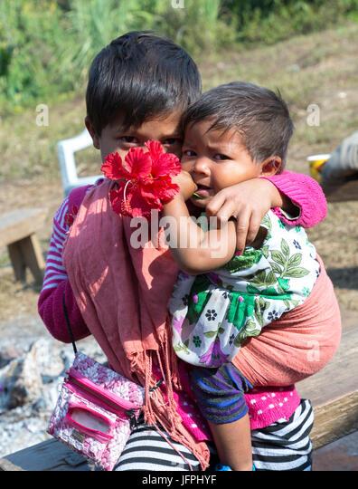 Shy children, Meghalaya, India - Stock Image
