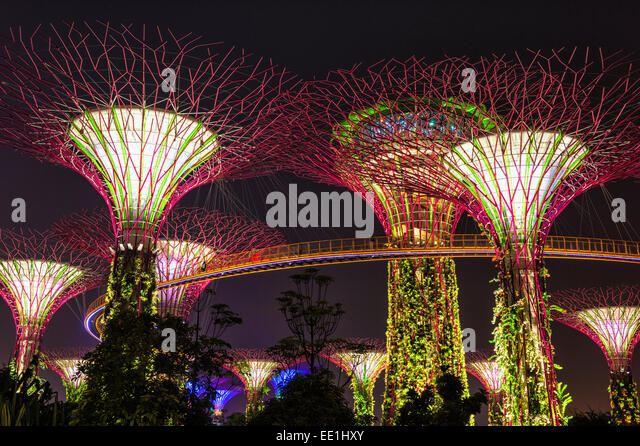 gardens by the bay at night singapore southeast asia asia stock image
