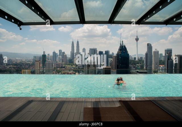 Skyscraper hotel pool stock photos skyscraper hotel pool - Rooftop swimming pool kuala lumpur ...