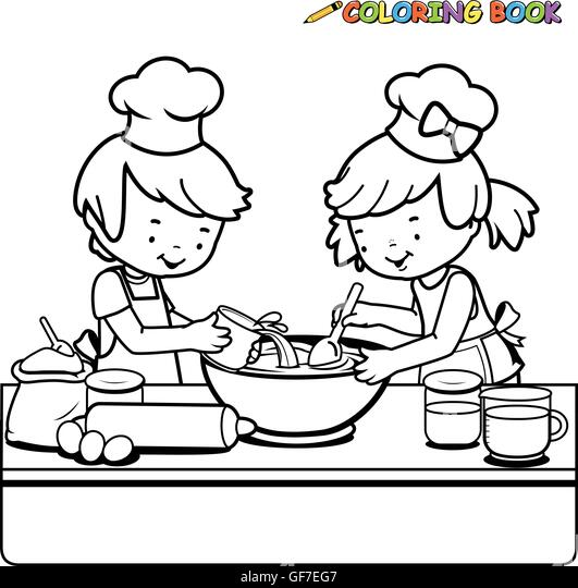 Cartoon Children Baking Cooking Chefs Stock Photos Cartoon
