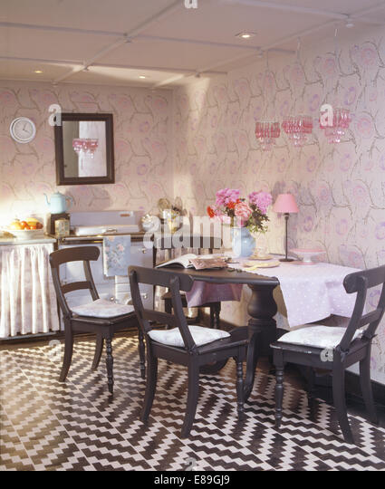 black white zig zag stenciled floor in kitchen dining room