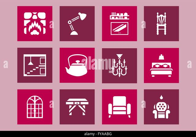 furnituring home and decoration icon design set vector graphic design furniture assets to improve - Graphic Design From Home