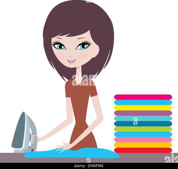 Cartoon Clothes Iron ~ Ironing board folded stock photos