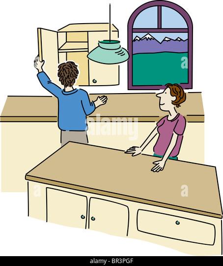 Empty Kitchen Cupboard: Kitchen Cabinet Cartoon Stock Photos & Kitchen Cabinet