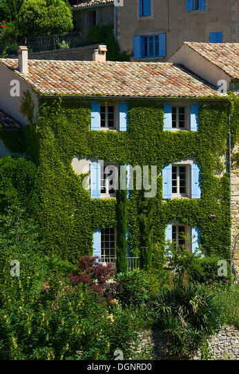 Ivy Covered House In A Village, Provence, Aurel, Département Vaucluse,  Provence Photo