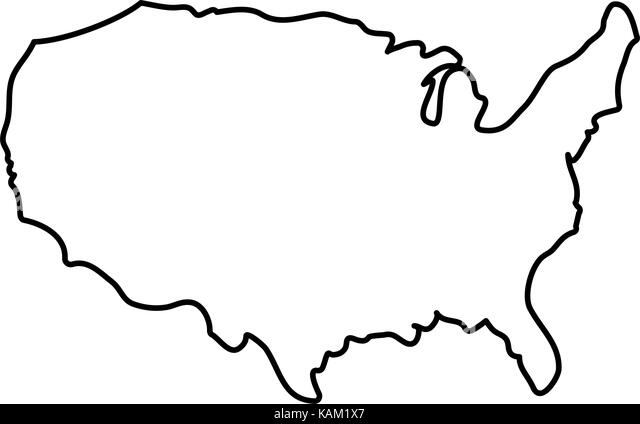 United States Of America Map Black And White Stock Photos Images - Us map white silhouette