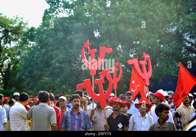CPM Electioneering arrangement with Party flags and workers assembled ...