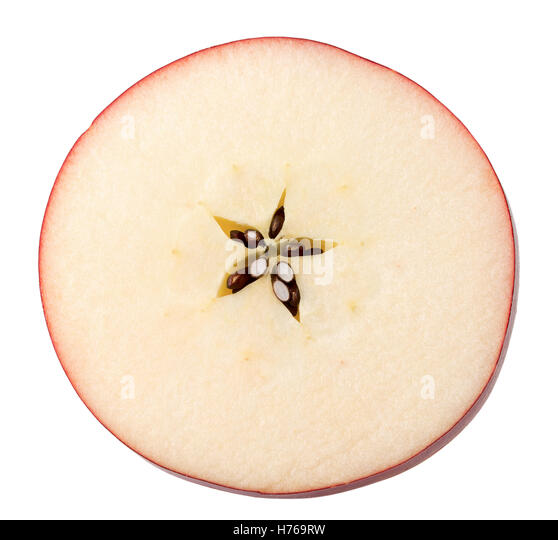 red apple slice. red apple slice isolated on the white background. - stock image