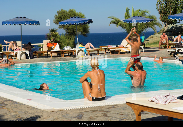 Hotel pool with people  Greek Women Swim Stock Photos & Greek Women Swim Stock Images - Alamy