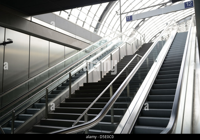 Berlin Central Station   Moving Staircase To Train Platform.   Stock Image