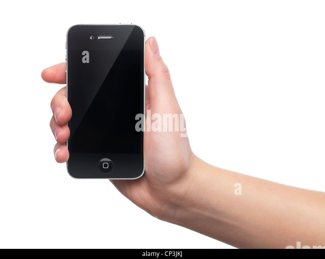 Black IPhone 4s Apple Smartphone In A Hand Isolated On White Background