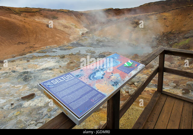 Information board at Seltun, geothermal field showing volcanic fumaroles, mud pots and hot springs, Reykjanes Peninsula, - Stock Image