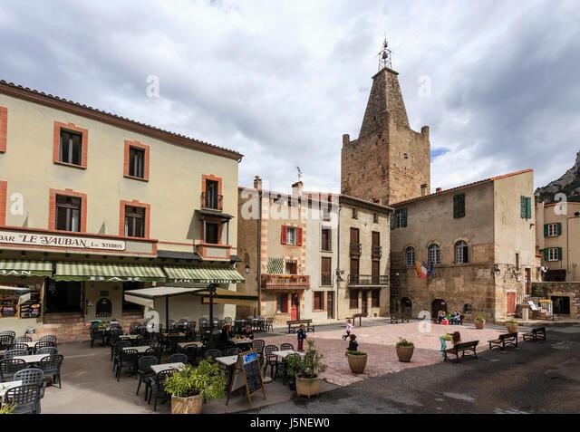 France, Pyrenees Orientales, Villefranche de Conflent, labelled Les Plus Beaux Villages de France, church and Town - Stock Image