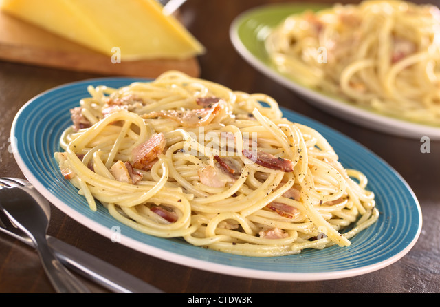 Spaghetti alla Carbonara made with bacon, eggs, cheese and black ...