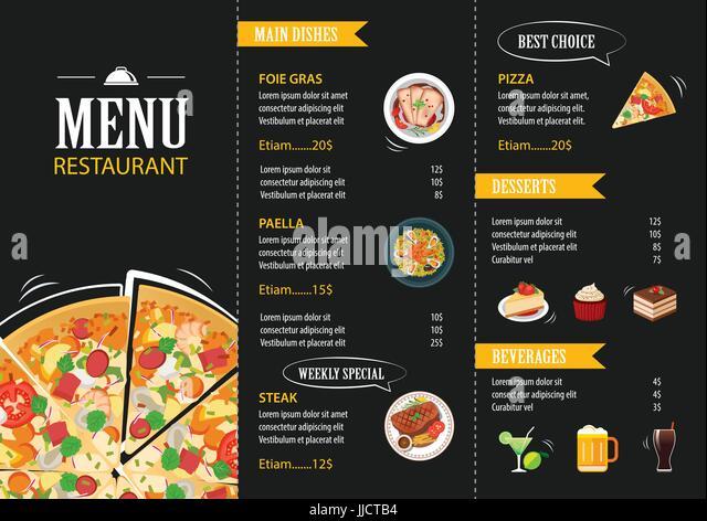 Vector Restaurant Cafe Menu Template Flat Design   Stock Image