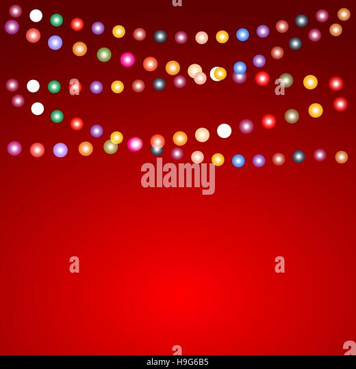 greeting card for christmas with a garland of colored light bulb stock vector - Colored Light Bulbs