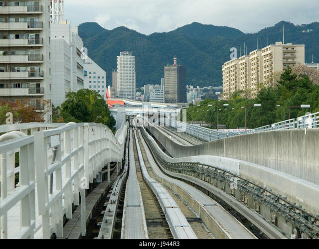 transport, track, japanese, japan, automated, street, road, railway, - Stock Image