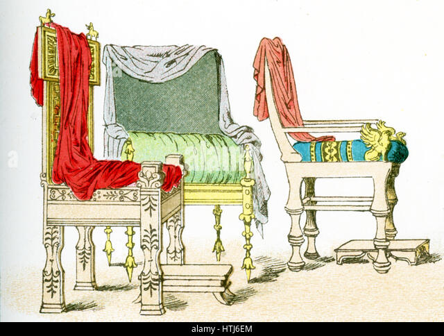 The Illustration Here Shows Three Ancient Greek Chairs.The Illustration  Dates To 1882.