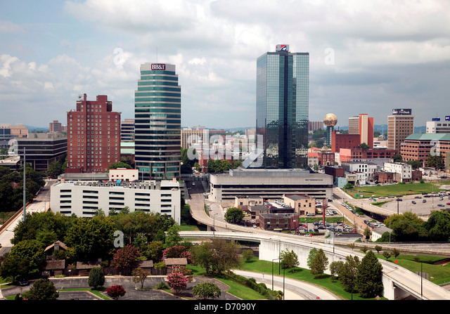 Knoxville, Tennessee Downtown Skyline with the Gay Street Bridge over ...