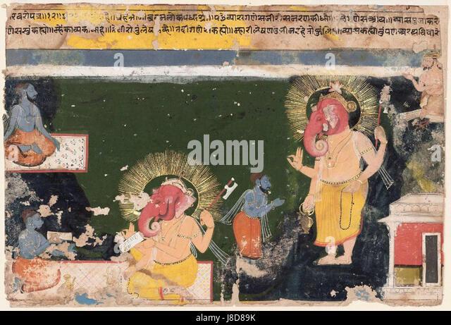 Ganesa writing the Mahabharat - Stock Image