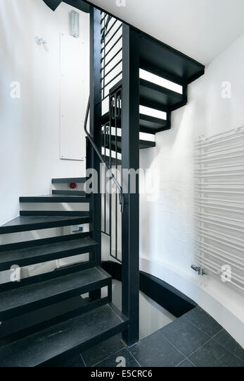 Stairwell with skylight above modern staircase - Contemporary Home Spiral Stock Photos Amp Contemporary Home