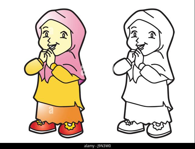 Illustration Of Melayu Muslim Girl Vector Cartoon Character For Coloring